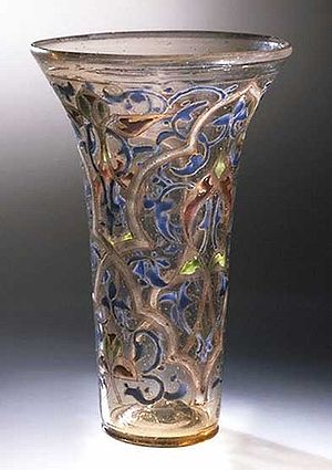 Vitreous enamel - Luck of Edenhall, a 13th century enamelled glass cup made in Syria or Egypt