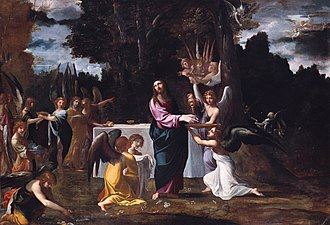 Ludovico Carracci - Ludovico Carracci - Christ in the Wilderness, Served by Angels