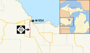 M-553 is a north–south highway in the Central Upper Peninsula of Michigan
