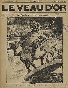 Desenho monocromático de um diabo com chifres sentado em uma vaca, seu suporte comum ameaçando afundar no vazio.