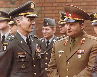 Berlin Brigade - Brigadier General John E. Rogers and Lieutenant-Colonel Alexander Dorofeev (Soviet Union) at Spandau Prison in 1981
