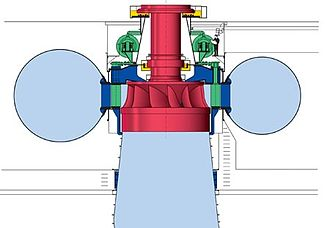 Francis turbine - Side-view cutaway of a vertical Francis turbine. Here water enters horizontally in a spiral shaped pipe (spiral case) wrapped around the outside of the turbine's rotating runner and exits vertically down through the center of the turbine.