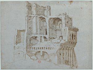 """Maarten van Heemskerck - Maarten van Heemskerck, """"Les ruines de la Casa dei Crescenzi"""""""