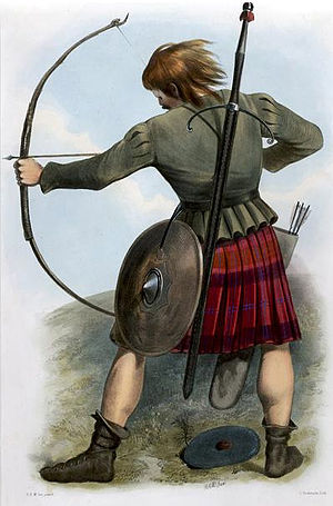 Clan MacQuarrie -  A Victorian era depiction of a member of the clan by R. R. McIan, from The Clans of the Scottish Highlands, published in 1845.