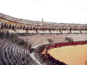 Artistic representation of the oldest bullring...