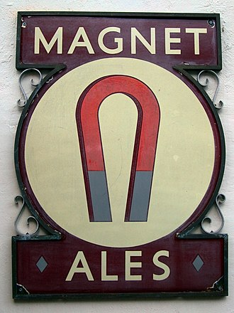 """John Smith's Brewery - A sign on a pub in London advertises """"Magnet Ales"""""""