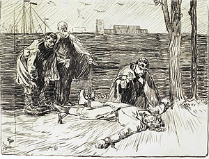Civil war era in Norway - King Magnus is mutilated. Illustration by Eilif Peterssen for Magnus The Blinds saga, from Heimskringla (1899 edition).