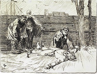 Civil war era in Norway - King Magnus is mutilated. Illustration by Eilif Peterssen for Magnus The Blind's saga, from Heimskringla (1899 edition).