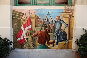 Valletta - Mural in the Valletta Market showing the city's construction