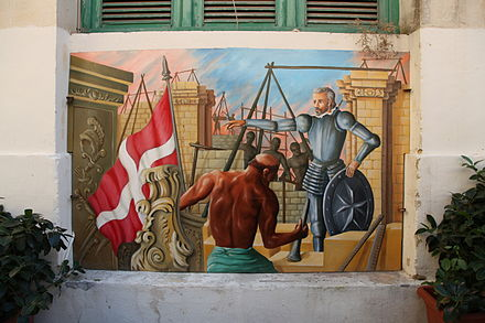 Former mural at Is-Suq tal-Belt showing the city's construction Malta - Valletta - Triq il-Merkanti 12 ies.jpg