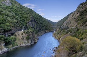 View of the Manawatu Gorge, Manawatu River, Ne...