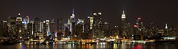 View of Midtown Manhattan at night, from Weehawken, New Jersey