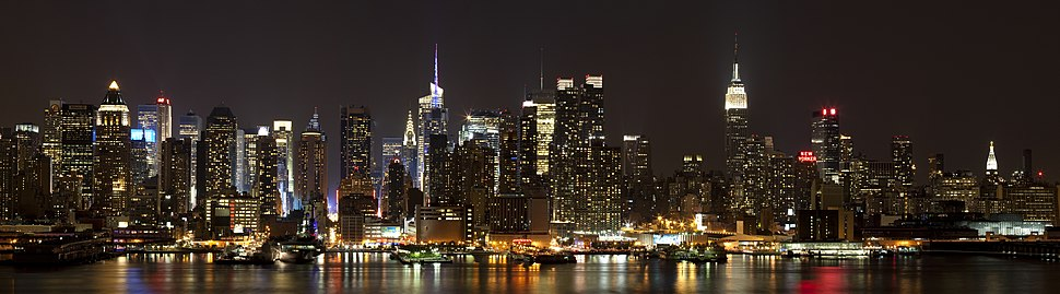 View of Midtown Manhattan at night, from across the Hudson River in Weehawken, New Jersey.