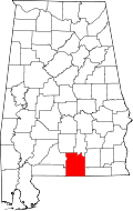 Map of Alabama highlighting Covington County