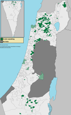 Arab localities in Israel - Map of Arabic speaking localities in Israel. This map includes East Jerusalem and Golan Heights, both not internationally recognized parts of Israel.