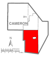 Map of Cameron County, Pennsylvania highlighting Gibson Township