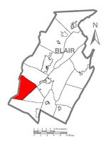 Map of Blair County, Pennsylvania highlighting Juniata Township