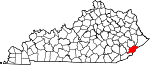 State map highlighting Letcher County