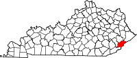 Map of Kentucky highlighting Letcher County