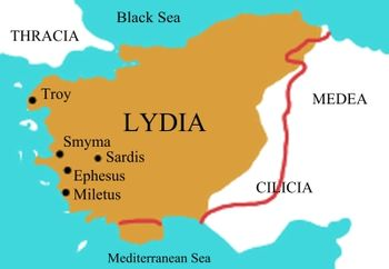 Map of Lydia ancient times