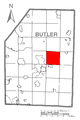 Map of Oakland Township, Butler County, Pennsylvania Highlighted.png