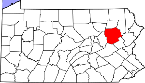 Map of Pennsylvania highlighting Luzerne County