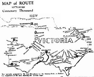 Centenary 1000 - Image: Map of Route Victorian Centenary 1000