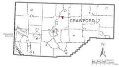 Map of Woodcock, Crawford County, Pennsylvania Highlighted.png