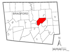 Map of Bradford County with Wysox Township highlighted