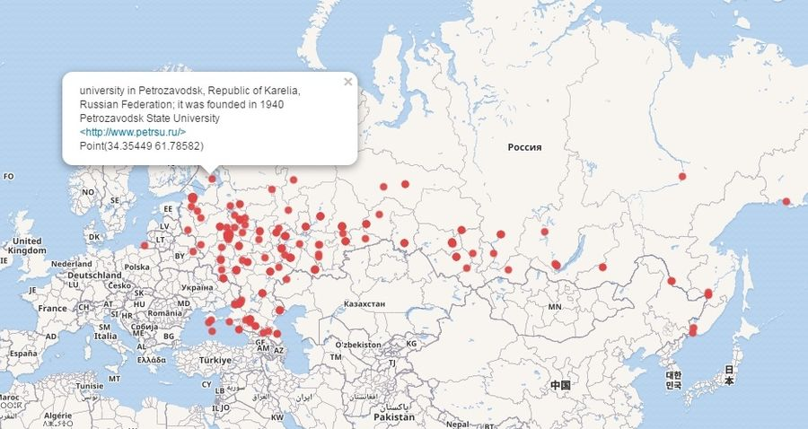 "Map of Wikidata objects corresponding to Russian universities and having  the property ""coordinate location"""