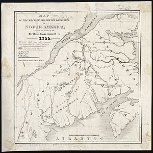 History of New England - Map of the British and French dominions in North America in 1755, showing what the English considered New England