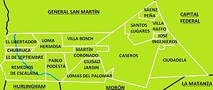 Tres de Febrero Partido - Map of the 15 localities of Tres de Febrero Partido.