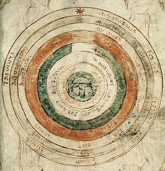 Celestial spheres - The Earth within seven celestial spheres, from Bede, De natura rerum, late 11th century
