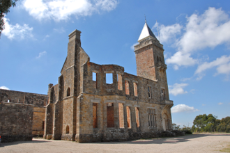 Marble Hill, South Australia - Ruins of the Governor's summer residence, showing the restored tower.