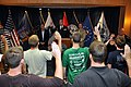 Marcel Bolboaca-Negru is flanked by Chris Collins and Brian Higgins as he administers the Oath of Enlistment to several individuals at the Niagara Falls Air Reserve Station.jpg