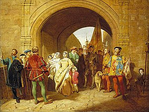 Margaret Tudor - Painting of Margaret, refusing to hand over custody of her sons to John Stewart, Duke of Albany, by John Faed, 1859.