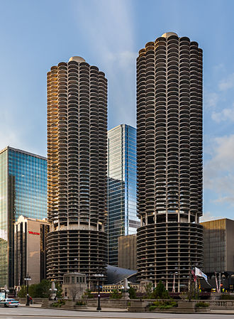High-rise building - Mixed-use Marina City high rise buildings in Chicago
