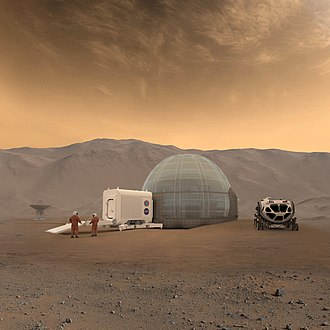 Colonization of Mars - An artist's conception of a Mars habitat, with a 3D printed dome made of water ice, air-lock, and pressurized rover designs on Mars