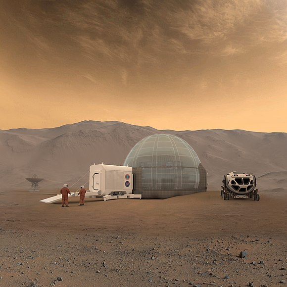 Langley's Mars Ice Dome design for a Mars habitat, 2010s Mars Ice Home concept.jpg