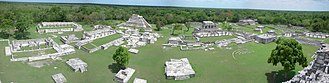 Mayapan - A panorama of the Mayapan excavations from the top of the Castle of King Kukulcan.