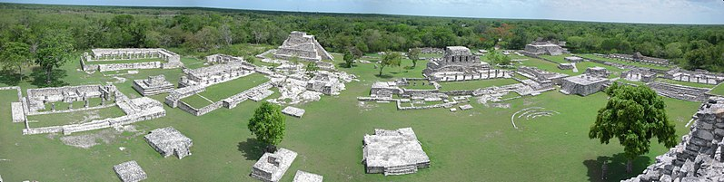 A panorama of the Mayapan excavations from the top of the Castle of King Kukulcan.