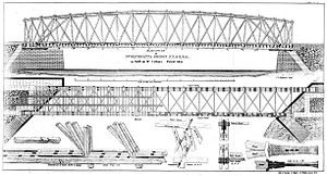 Daniel McCallum - Lithographic drawing of McCullam's Patent Timber Bridge, 1852