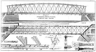 Daniel McCallum - Lithographic drawing of McCullam's Patent Timber Bridge, 1852