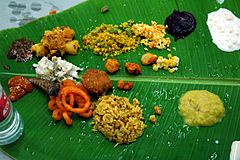 A typically south Indian banana leaf meal