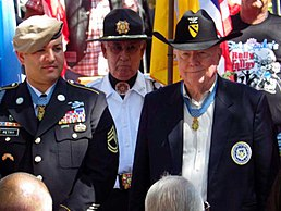 Medal of Honor winners Leroy Petry (left) and Bruce Crandall, (right)