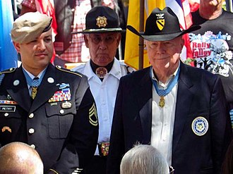 Bruce P. Crandall - Crandall (right) and Medal of Honor recipient Leroy Petry (left) in Santa Fe, New Mexico, June 24, 2013