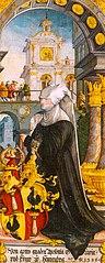 Die kniende Stifterin Gräfin Apollonia von Henneberg – Christus am Ölberg