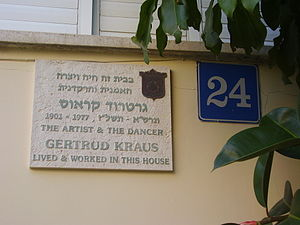 Gertrud Kraus - A memorial plaque on the house of Gertrude Kraus Street 24, Tel Aviv
