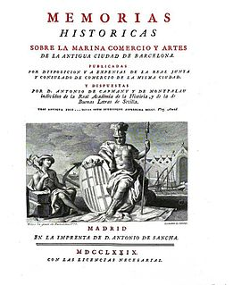<i>Memorias históricas</i> (Capmany) book by Antonio de Capmany y Montpalau