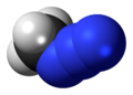 Space-filling model of the methyl azide molecule